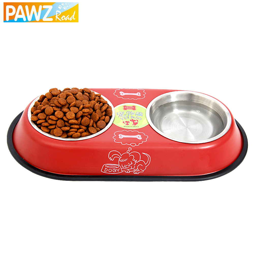 Stainless Steel Big Pet Double Bowl Feeder Dog Drinking Easy Take Food Water Feeder Bowl Cat Foods Bowl 2 Colors Medium Pet suit