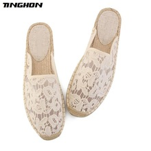 TINGHON Fashion Women Ladies Espadrille Shoes Canvas Breathable lace Hemps Fisherman Flats