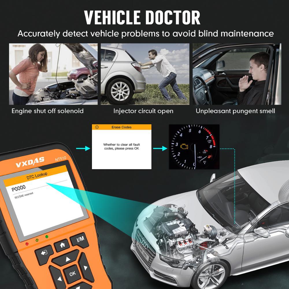 Image 5 - VXDAS Авто/автомобильный диагностический инструмент полная система полное покрытие модели Покрытие модель русский обновленный код ReaderOBD2 сканер NT510 12 В
