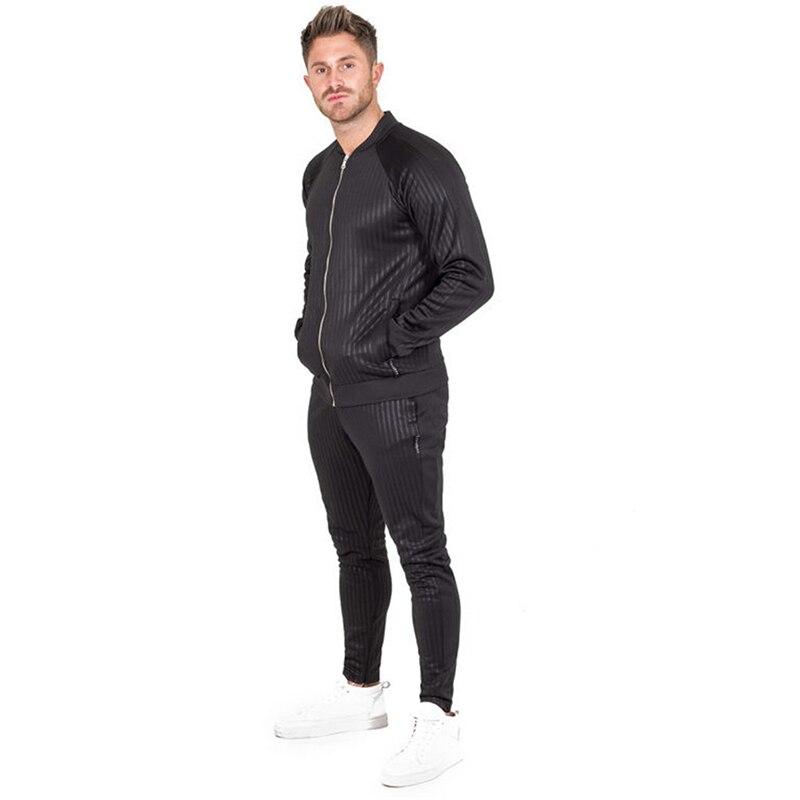 GYMOHYEAH tout nouveau automne décontracté hommes ensembles mode mâle Zipper sweat + pantalon survêtement à la mode cordon Sportwear Setu - 2