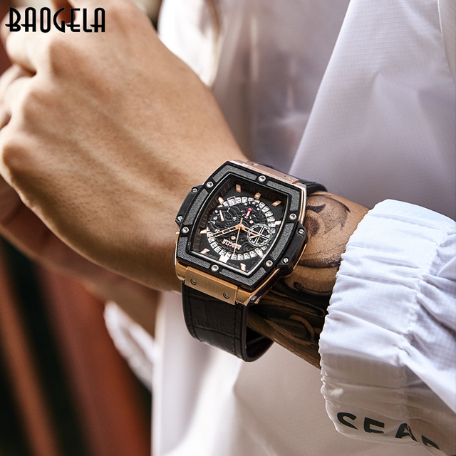 BAOGELA Marke Mode Herren Sport Wasserdicht Kalender Armbanduhr Square Multifunktions Silikon Band Herren Uhr