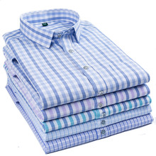 Mens Summer New Short Sleeve Shirt / 2019 Cotton Plaid Lapel Business Casual Asian Size M-5XL