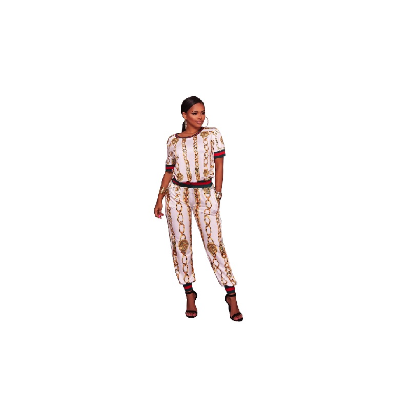 NEW fashion suit Long Pants Plus Size Two Piece Set Fashion Top Sweater Sets Stripe Printed Casual Short Sleeve