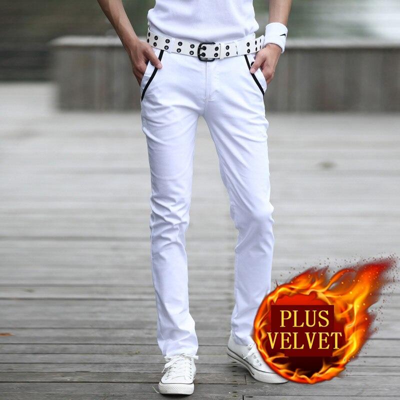 Hot selling winter plus velvet thicken slim casual pants men cotton white skinny pants Pockets design fleece trousers size 28-44