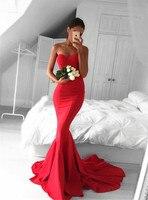 Vestidos de graduacion Для женщин вечернее платье Дешевые Длинные платье для выпускного вечера es Сексуальная Милая Русалка Красный платье для выпуск