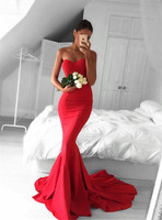 Vestidos de graduacion Women Evening Dress Cheap Long Prom Dresses Sexy Sweetheart Mermaid Red Prom Dress 2018 Sweep Train