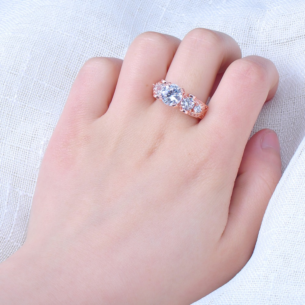 Bamos Romantic Female White Round Zircon Ring Fashion Rose Gold ...