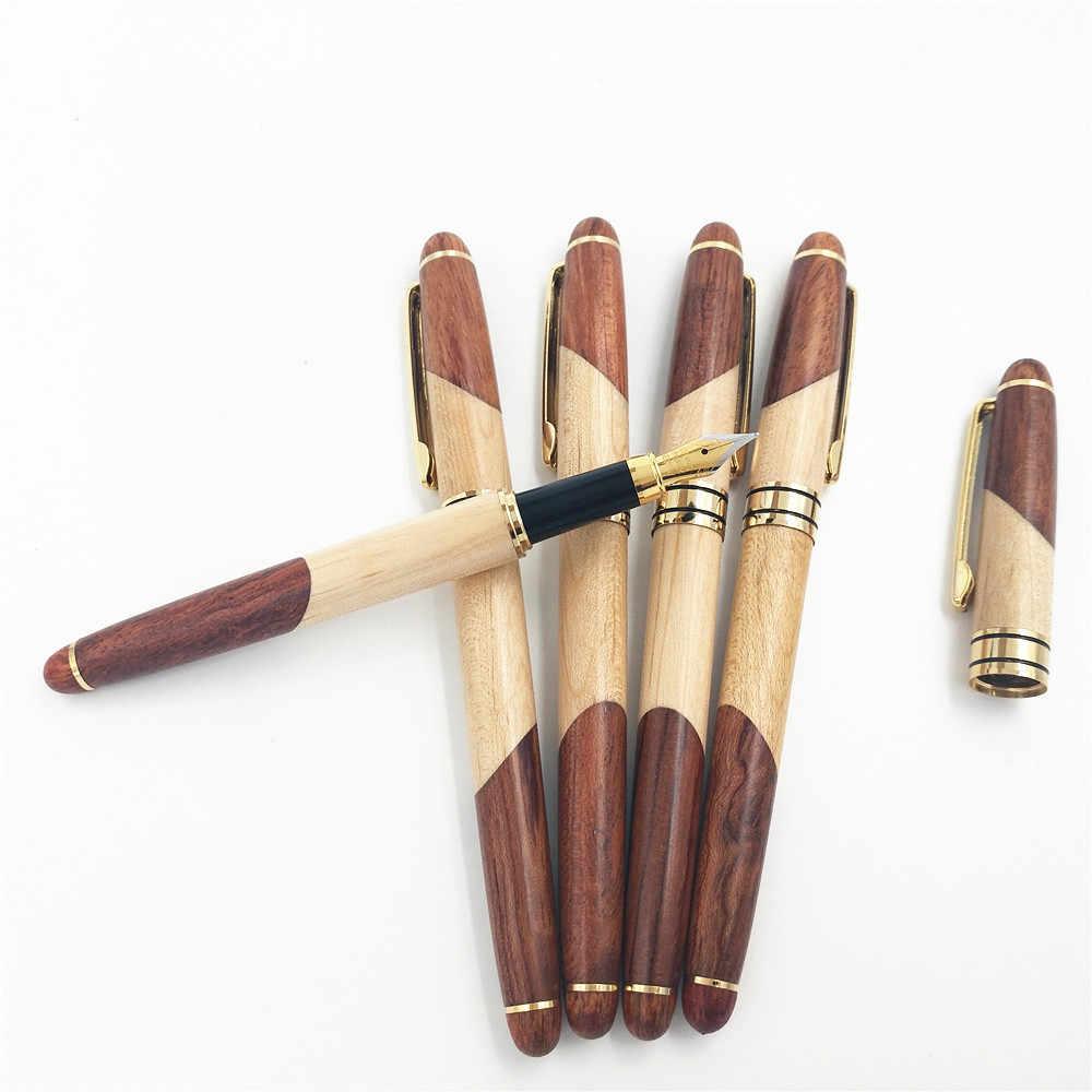1 قطعة روزوود الماهوجني القلم خشبية طقم هدايا مكتبية الأعمال الهدايا قلم حبر