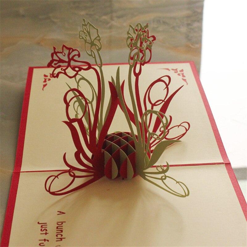 Charm Art Origami DIY Díky karty jonquil papír řemesla artz laser vystřihnout 3D pop up pohlednice pohlednice 15 * 15cm