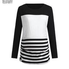 TELOTUNY Материнство беременная мама женская блузка Топ тройники с длинным рукавом полосатый принт топы для беременных футболка одежда Z1130