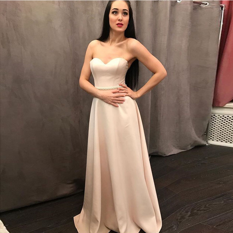 Simple A-line Bridesmaid Dresses Sweetheart Satin 2019 Cheap Maid Of Honor Party Dress Beaded Belt Floor Length Bridesmaid Gown