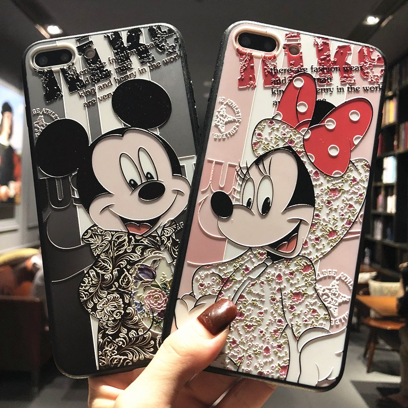 RHOADA Relief Mickey Minnie Mouse Phone Case For iphone 6s 6 Plus 7 Plus 8 8 Plus iphone X Cute Cartoon TPU+PC Phone Couqe Para