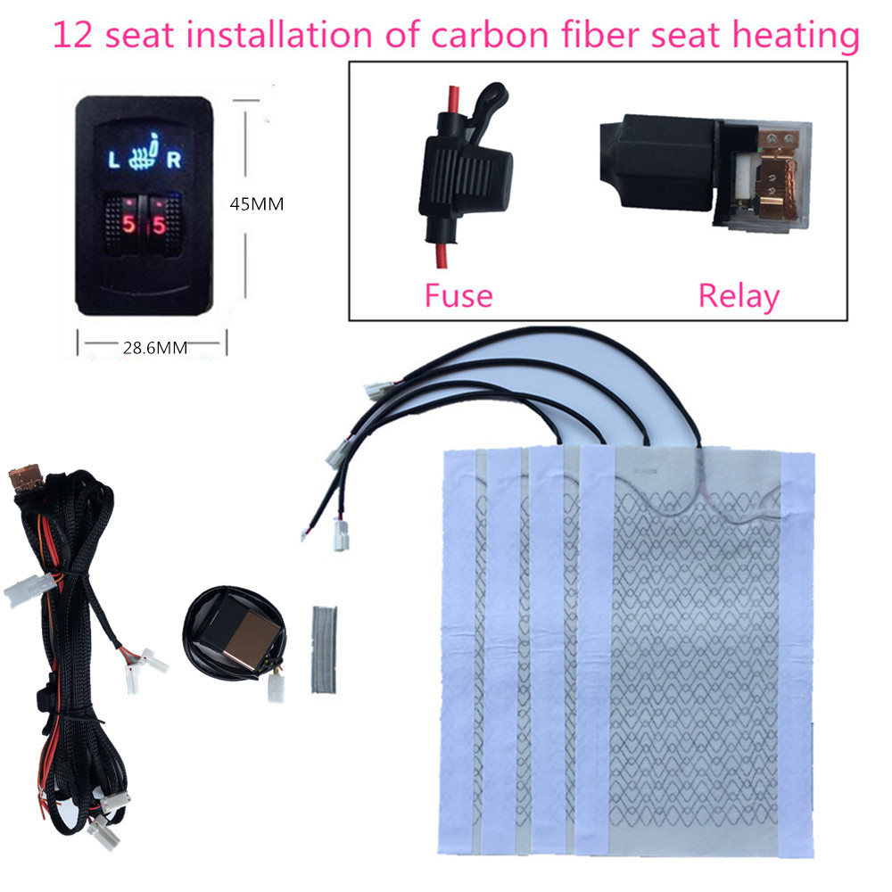2 Seats 4 Pads Universal Carbon Fiber Car Heated Seat Heater 12V Pads 2 Dial 5 Level Switch Winter Warmer Seat Covers heating 2pcs 12v universal car heated seat covers pad carbon fiber heated auto car seat heating pad winter warmer heater mat