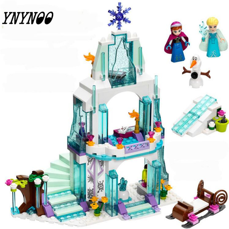 (YNYNOO) 316pcs Friend Elsa's Ice Castle Building Blocks Sets Princess Anna Olaf Bricks toys Compatible Friends For Girl