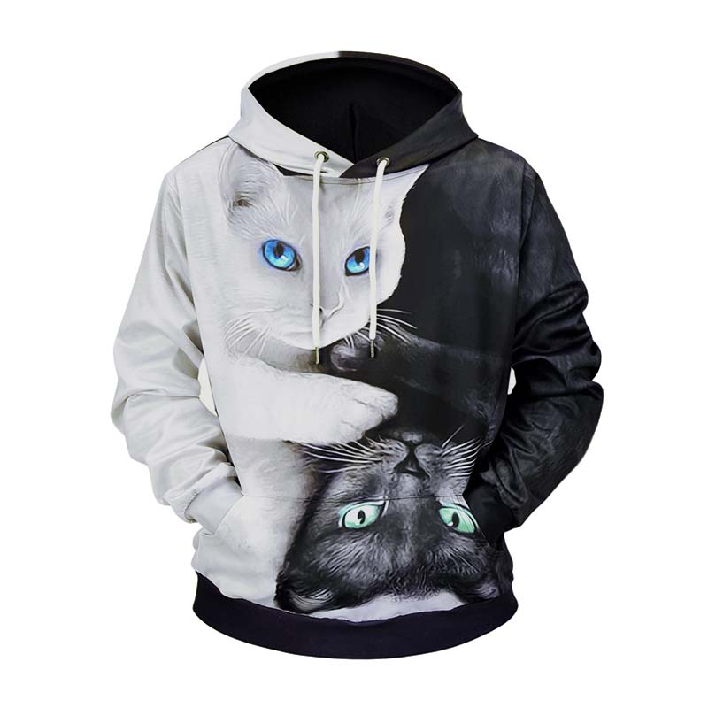 Black White Funnny Cats 3D Printed Hoodies Men Casual Polyester Hooded Sweatshirts Male Hip Hop Fashion Hoodie Tops