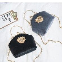 Female Velvet Pearl Handbag Vintage Velour Heart Design Evening Bag Wedding Part