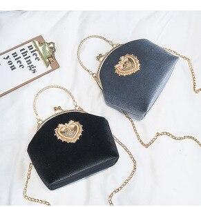 Image 1 - Kadın kadife inci çanta Vintage kadife kalp tasarım akşam çanta düğün gelin debriyaj kadife çanta çanta