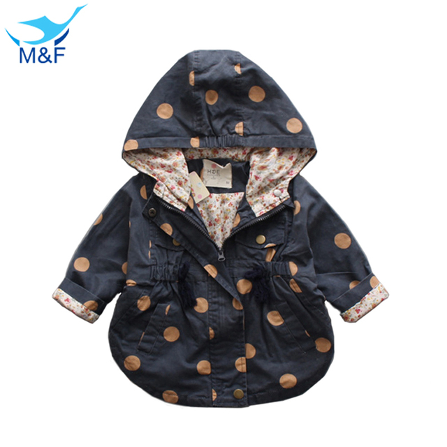 M&F High Quality Baby Jackets Coat Autumn Cotton Infant Coats&Outwear Cute Dot Toddler Kids Clothes Hooded Boy/Girl Clothing