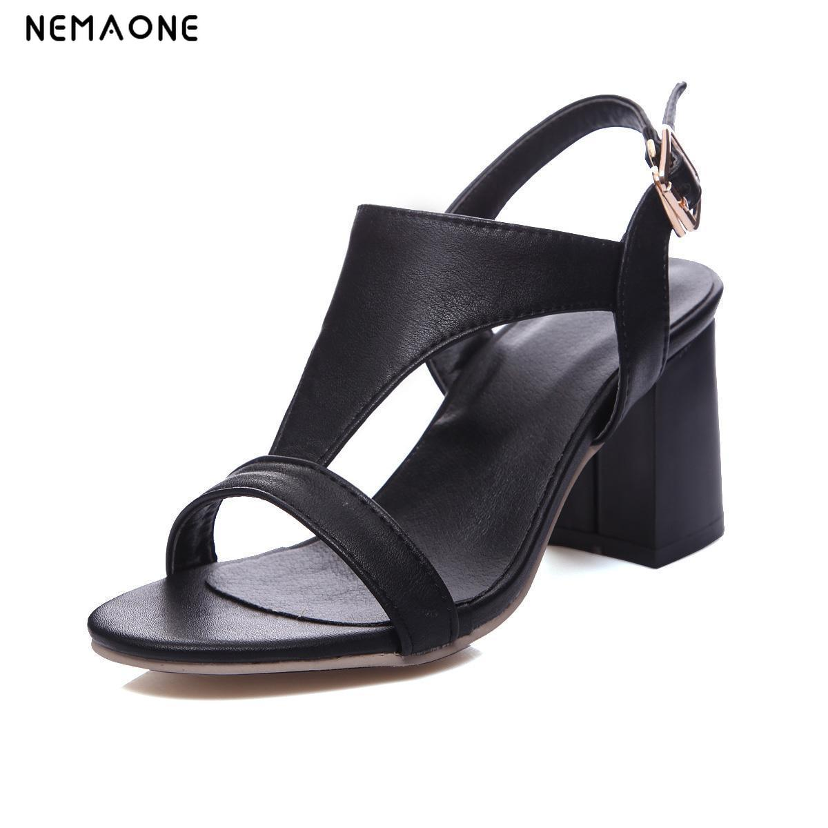 NEMAONE 2019 New classics women shoes sexy thick high heels sandals summer  shoes woman elegant ladies shoes large size 34-43 - fastboxx Review bab2e8452c8
