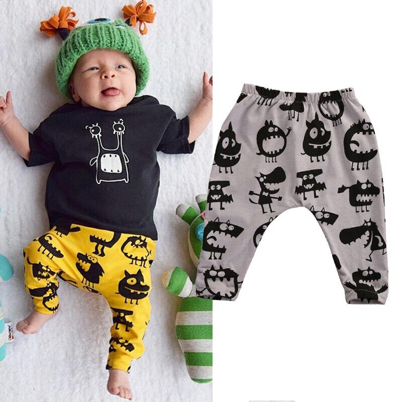 Newborn Baby Boys Girls Bottom Long Pants Print Leggings Trousers Cotton Clothing 0-3Y
