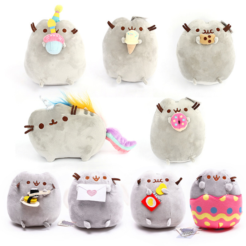 15cm PusheenCat Plush Toys Donuts Cat Cookie Icecream Rainbow Cake Style Plush Soft Stuffed Animals Toys for Children Kids Gift статор 33 usm500