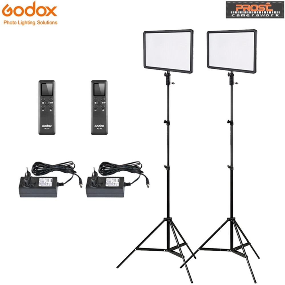 Godox 2 pcs LEDP260C Ultra-mince de 30 w 3300-5600 k Lampe Vidéo LED Panneau Lampe avec 2 pcs 2 m Support De Lumière pour Vidéo Studio Lumières