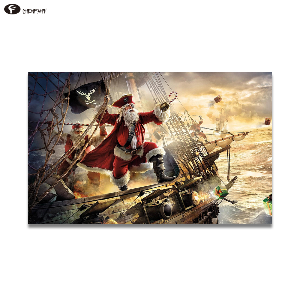 CHENFART Poster on the wall Father Christmas pirate ship gifts sea storm Wall Pictures for Living Room no Framed