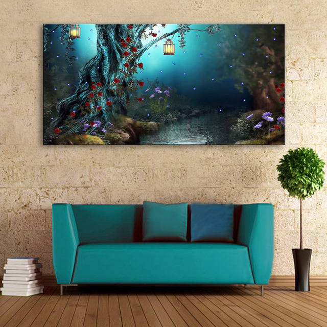 Aliexpress.com : Buy Stretched Canvas Prints Tree of The River LED ...