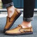 YIQITAZER 2017 de Primavera y Verano Zapatos de Plataforma de Los Hombres Zapatos Planos Ocasionales, Slipon Luz Suave Mocasines de Hombre Zapatos de Cuero Amarillo negro