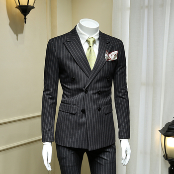 XM GEEKI European and American Dark Grey Double-breasted Suit Men's Suits British Business Dress Striped Suit Blazer 365wt48