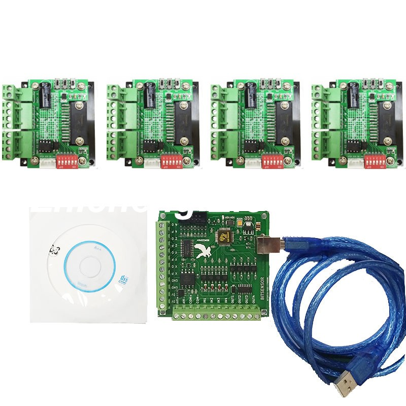 CNC Router mach3 USB 4 Axis Kit, 4pcs TB6560 1 Axis Driver Board + one mach3 4 Axis USB CNC Stepper Motor Controller card 100KHz cnc 3 axis controller tb6560 stepper motor driver board with 0 10v spindle regulation one db25 caple