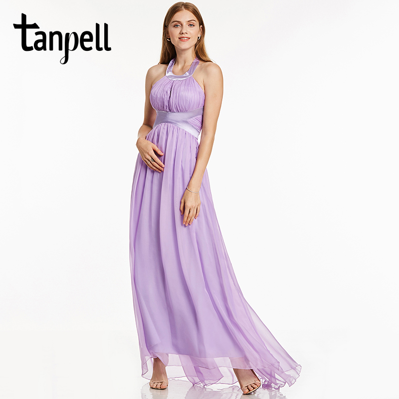 Tanpell halter long prom dress new lilac sweep train floor length a ...