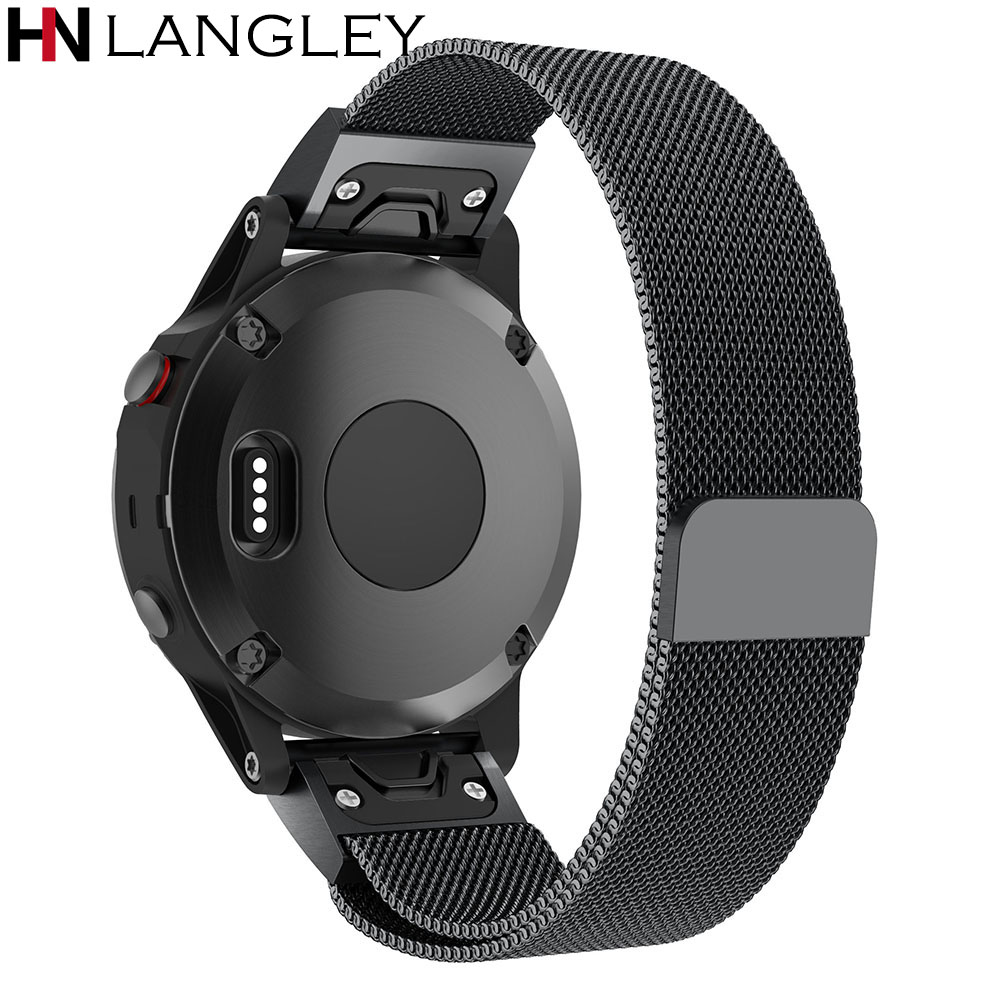 20mm 22mm 26mm Easy Fit Milanese Watchband Quick Release Band for Garmin Fenix 3 / HR / 5X /5S Magnet Strap Wrist Belt Bracelet