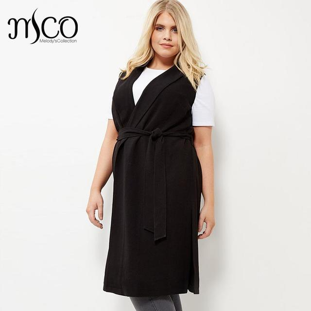 2016 High Quality Fashion Belted Sleeveless Office Waist Coat Long Line Black Women Trench Vest Plus Size Duster Jacket 6XL 5XL