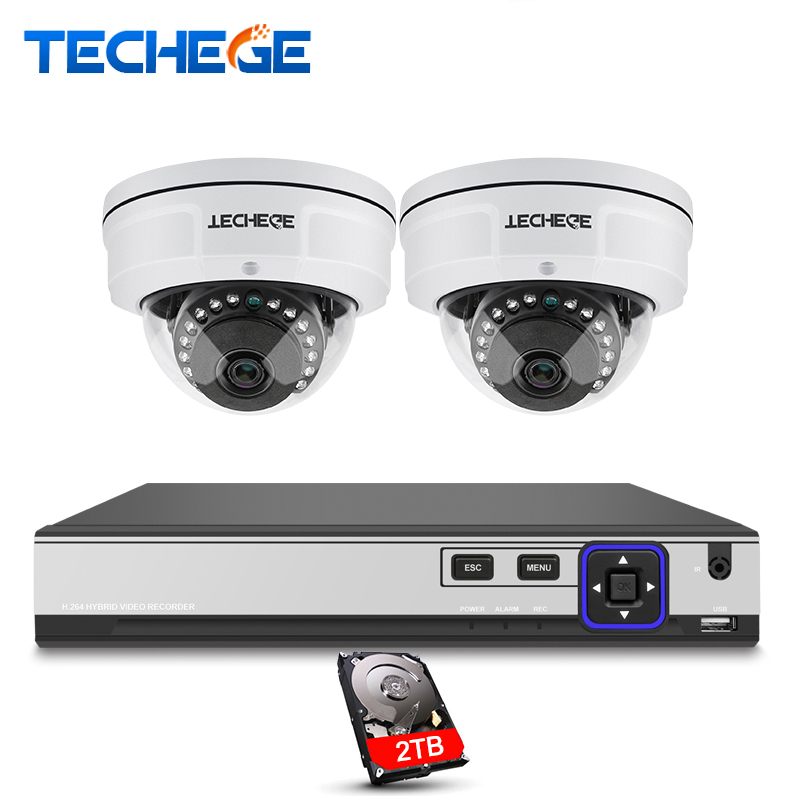 Techege CCTV System 4CH 4K POE NVR 4MP POE IP Camera Vandalproof IR Night Vision Motion Detection Security Surveillance System hbss 4ch 1 0m hd 2tb hdd poe ip66 waterproof motion detection 1280 720p ir night vision outdoor mult lang surveillance system