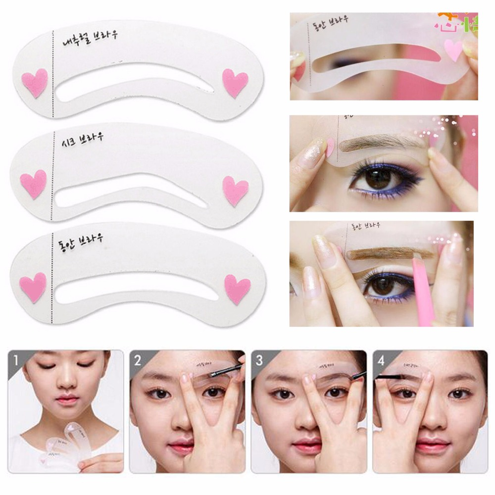 3Style Mini Eye Brow Class Guide Grooming Shaping Assistant Eyebrow Drawing Card Shape Frame 目