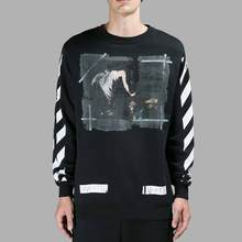 2016 New Brand Off White Men'S Hoodies Printed Long Sleeve Pullover Bottom O-Neck Fleece Hip Pop Sweetwear Male Tops MH15 Z10