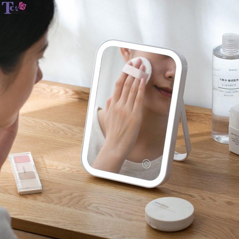 LED miroir rétro-éclairé bureau à domicile charge ABS 3.7 V/1.48 W miroir de maquillage pliant avec lumières miroirs de Table lampe cosmétique