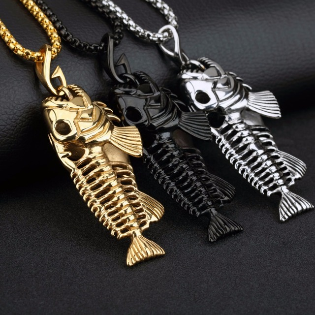 Fashion Mens Jewelry Boy Fish Bone Pendants Necklace Chain for Men