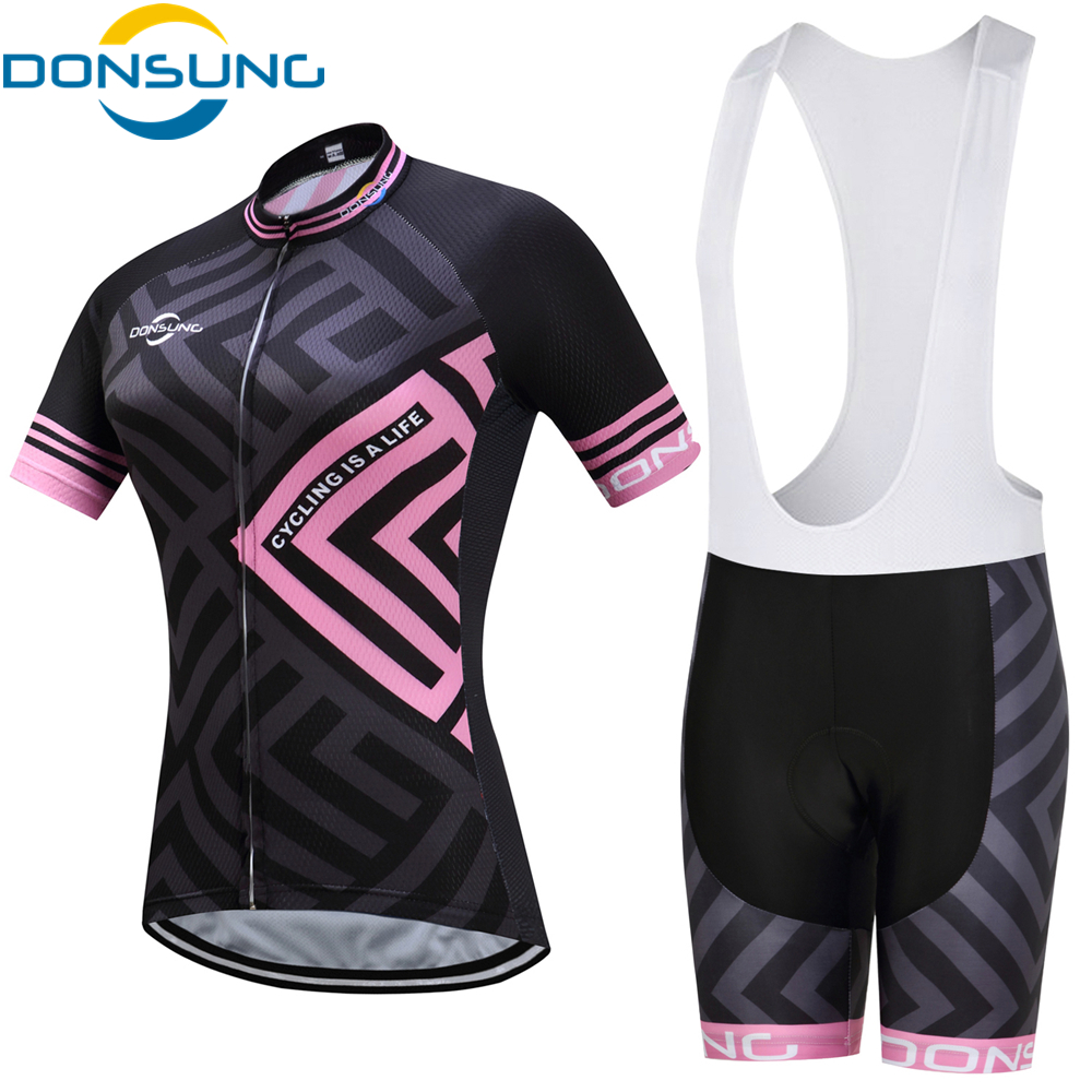 DONSUNG Cycling Jersey Sets Short Sleeve Women s Cycling Clothing Bicycle Wear Abbigliamento Ciclismo Estivo 2019