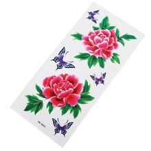 Яркие красные цветы водостойкие наклейки для татуировки влагоотводящие прочные женские горячие сексуальные цветочные руки вечерние банкетные татуировки наклейки подарок
