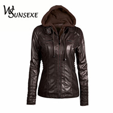 Hooded Faux Leather Jackets Women Autumn Winter Casual Tops Long Sleeve Hat Detachable PU Leather Slim Coat Plus Size 7XL 2017
