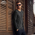 Enjeolon brand winter autumn Knitting casual pullover Sweaters man 100% Cotton O-neck male Sweater black Clothing MY3302