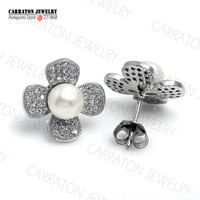 8mm Freshwater Pearl Real 925 Sterling Silver Jewellery Full CZ Elegant Clover Stud Earrings