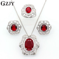GZJY Fashion Wedding Party Bridal Jewelry White Gold Color Water Drop Zircon Pendant Necklace Earring Ring Set For Women I11 2