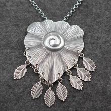 Thailand vintage old stereo tassel sweater chain large pond lotus leaves 925 Handmade Silver Pendant Chiang Mai