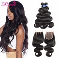 Peruvian Body Wave Lace Closure With Bundles 8a Virgin Human Hair 3 Bundles With Closure queen hair products with closure bundle