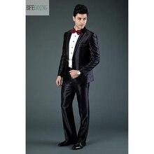 Черный обычный смокинг однобортный костюм жениха+ жилет+ брюки+ галстук для свадьбы/Вечеринки
