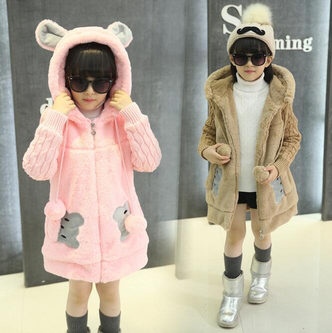 Girl Autumn Winter Woolen Knitted Coat Drawstring Hooded Zippe Chartacter Meisjes Winterjas Warm Clothing For Girls