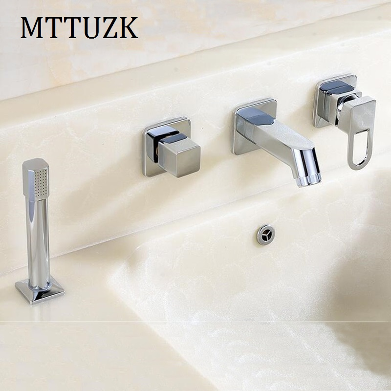 MTTUZK Free Shipping Bathrooms Chrome Faucet Double Knobs 4 Hole Deck  Mounted Sink Faucet Hot Cold Mixer Tap With Hand Shower  In Basin Faucets  From Home ...